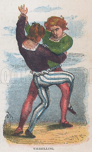 Wrestling. Illustration for the weekly magazine Boys of the Empire (Edwin Brett, 1888).