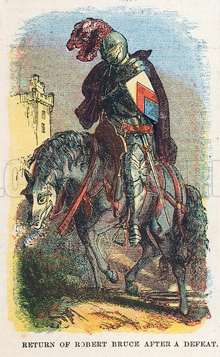 Return of Robert Bruce after a defeat. Illustration for the weekly magazine Boys of the Empire (Edwin Brett, 1888).