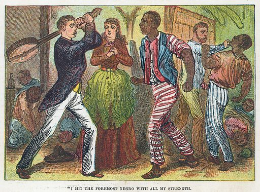 """""""I hit the foremost negro with all my strength"""".  Illustration for the weekly magazine Boys of the Empire (Edwin Brett, 1888)."""