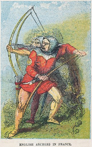 English archers in France.  Illustration for the weekly magazine Boys of the Empire (Edwin Brett, 1888).