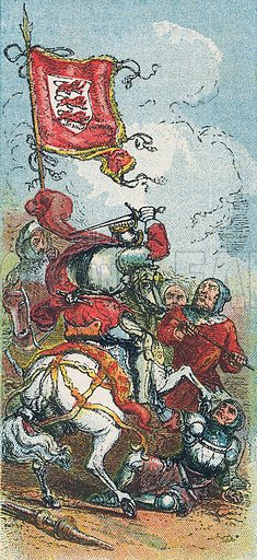King Edward III at the battle of Crecy. Illustration for the weekly magazine Boys of the Empire (Edwin Brett, 1888).