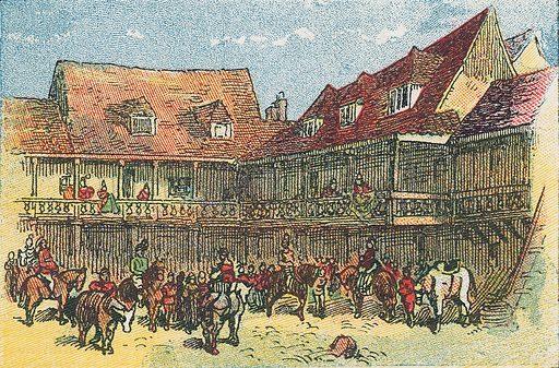 The Tabbard Inn, Southwark.  Illustration for the weekly magazine Boys of the Empire (Edwin Brett, 1888).