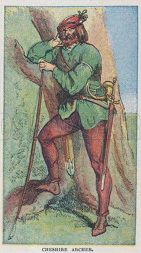 Cheshire archer. Illustration for the weekly magazine Boys of the Empire (Edwin Brett, 1888).