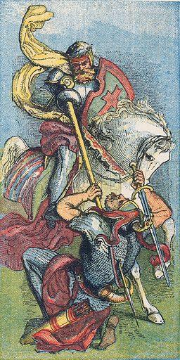 Death of James de Martin.  Illustration for the weekly magazine Boys of the Empire (Edwin Brett, 1888).