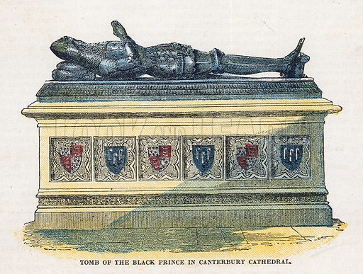 Tomb of the Black Prince in Canterbury Cathedral.  Illustration for the weekly magazine Boys of the Empire (Edwin Brett, 1888).