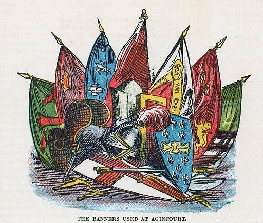 The banners used at Agincourt.  Illustration for the weekly magazine Boys of the Empire (Edwin Brett, 1888).