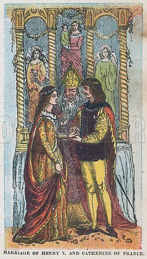 Marriage of king Henry V and Catherine of France.  Illustration for the weekly magazine Boys of the Empire (Edwin Brett, 1888).
