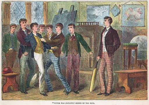 Victor was instantly seized by the boys.  Illustration for the weekly magazine Boys of the Empire (Edwin Brett, 1888).