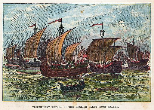 Return of the English fleet after the battle of Agincourt.  Illustration for the weekly magazine Boys of the Empire (Edwin Brett, 1888).