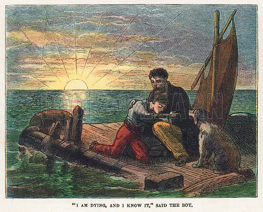 Dying on a raft.  Illustration for the weekly magazine Boys of the Empire (Edwin Brett, 1888).
