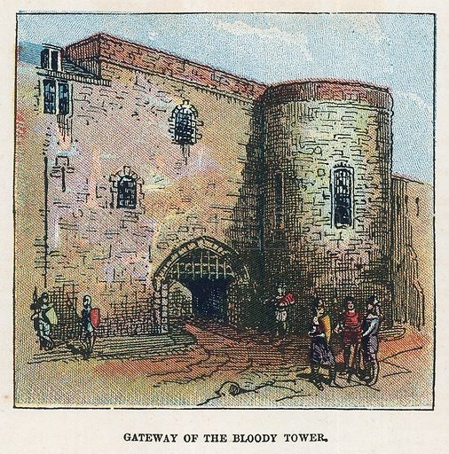 Gateway of the bloody tower.  Illustration for the weekly magazine Boys of the Empire (Edwin Brett, 1888).