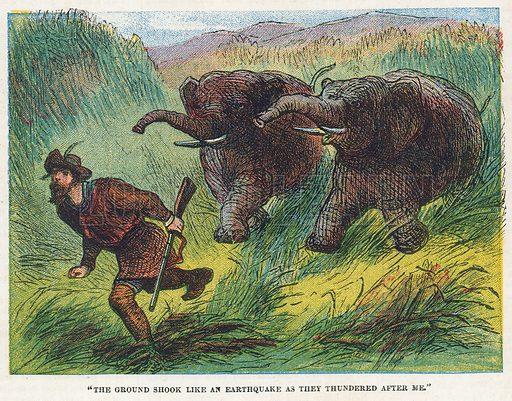 Elephant hunt. Illustration for the weekly magazine Boys of the Empire (Edwin Brett, 1888).