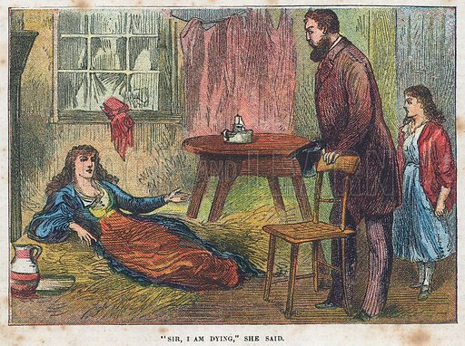 """""""Sir, I am dying"""".  Illustration for the weekly magazine Boys of the Empire (Edwin Brett, 1888)."""