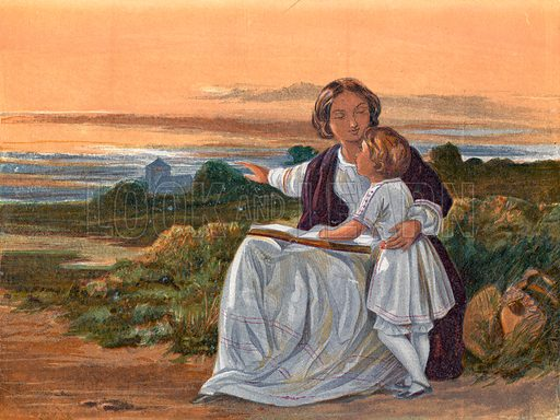 Summer evening.  Illustration for Hymns and Pictures (SPCK, c1870).