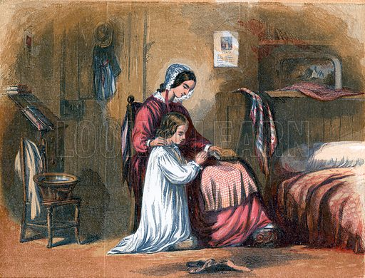 A Child's prayer. Illustration for Hymns and Pictures (SPCK, c1870).