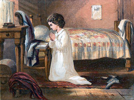 Heart-felt prayers. Illustration for Hymns and Pictures (SPCK, c1870).