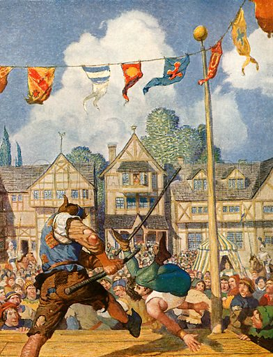 Little John defeats Eric of Lincoln. Illustration from Robin Hood and his Merry Outlaws (George Harrap, c 1910).