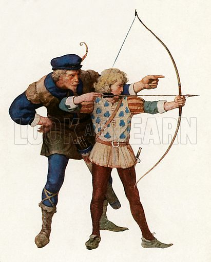 Robin Hood trains young archer. Illustration from Robin Hood and his Merry Outlaws (George Harrap, c 1910).