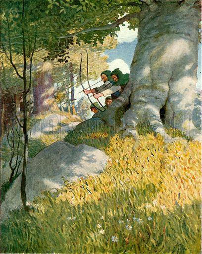 Robin Hood and his companions rescue Will Stutely. Illustration from Robin Hood and his Merry Outlaws (George Harrap, c 1910).