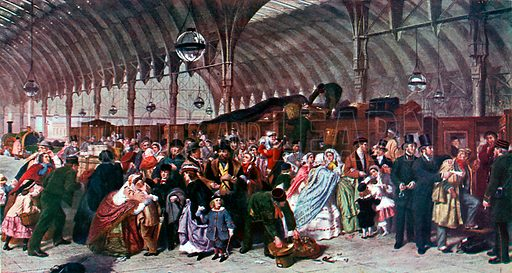 The railway station. Illustration from Lives of Great Men edited by Richard Wilson (Thomas Nelson, 1911).