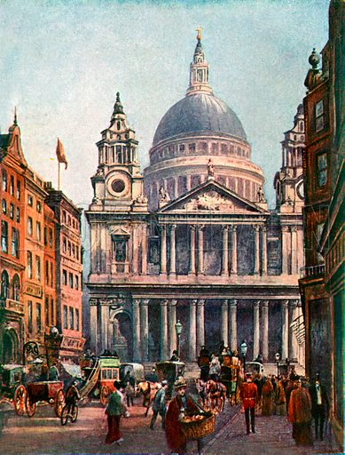St Paul's Cathedral. Illustration from Lives of Great Men edited by Richard Wilson (Thomas Nelson, 1911).
