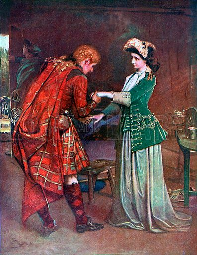 Prince Charlie's farewell to Flora Macdonald. Illustration from Lives of Great Men edited by Richard Wilson (Thomas Nelson, 1911).