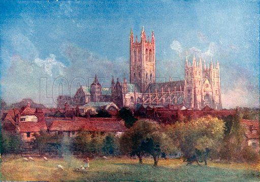 Canterbury Cathedral, the final resting place of the Black Prince. Illustration from Lives of Great Men edited by Richard Wilson (Thomas Nelson, 1911).