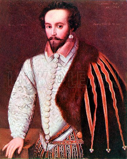 Sir Walter Raleigh. Illustration from Lives of Great Men edited by Richard Wilson (Thomas Nelson, 1911).