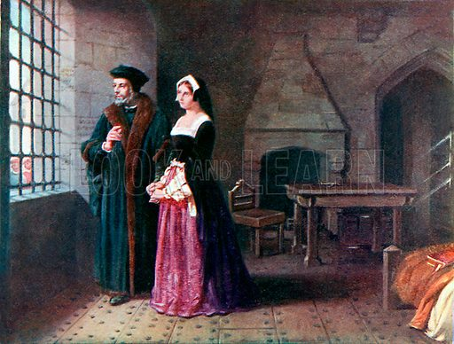 Sir Thomas More visited by his daughter in prison. Illustration from Lives of Great Men edited by Richard Wilson (Thomas Nelson, 1911).
