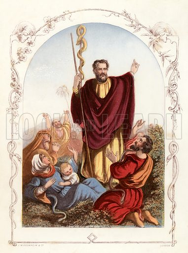 Moses. Illustration from The Book of Sunday Pictures (Religious Tract Society, c 1850). Engraved by Kronheim.