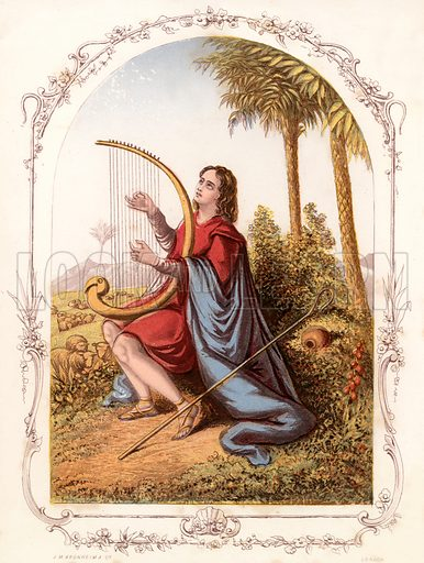 David playing the harp. Illustration from The Book of Sunday Pictures (Religious Tract Society, c 1850). Engraved by Kronheim.