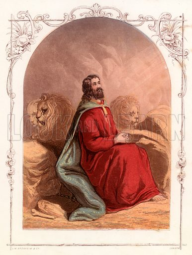 Daniel in the lions den. Illustration from The Book of Sunday Pictures (Religious Tract Society, c 1850). Engraved by Kronheim.