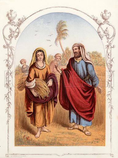 Ruth and Boaz. Illustration from The Book of Sunday Pictures (Religious Tract Society, c 1850). Engraved by Kronheim.