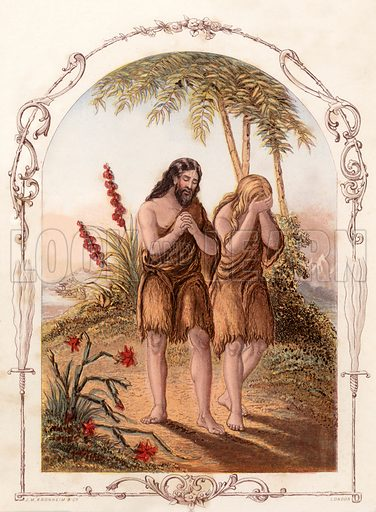 The expulsion of Adam and Eve from the Garden of Eden. Illustration from The Book of Sunday Pictures (Religious Tract Society, c 1850). Engraved by Kronheim.