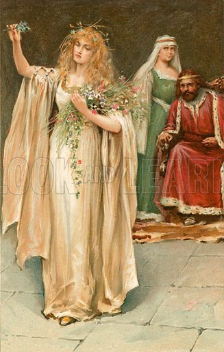 Ophelia. Illustration from Shakespeare's Heroines (Ernest Nister, c 1900).