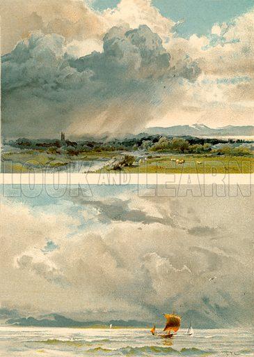 Painting skies. Illustration fom The New Popular Educator (Cassell, c 1890).