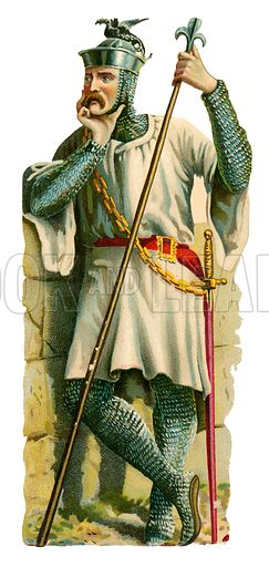 Spearman, time of king William II, 1087–1100. Victorian scrap, probably produced by Raphael Tuck.