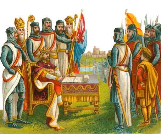 King John signing Magna Carta. Victorian scrap, probably produced by Raphael Tuck.