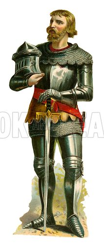 Cavalry soldier of the time of King Richard II, 1377-1399.  Victorian scrap, probably produced by Raphael Tuck.