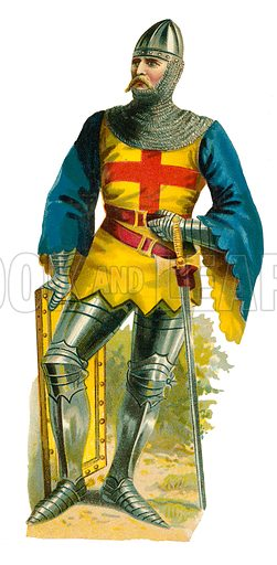 Knight of king Henry V, 1413–22. Victorian scrap, probably produced by Raphael Tuck.