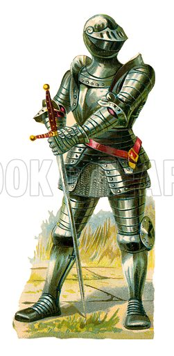 Knight of the time of King Henry VII, 1485-1509.  Victorian scrap, probably produced by Raphael Tuck.