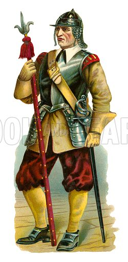 Pikeman, time of Oliver Cromwell. Victorian scrap, probably produced by Raphael Tuck.