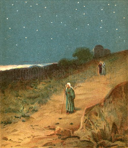 Sunset. Illustration from The Pictorial New Testament (Scripture Gift Mission, c 1915).