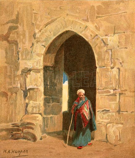 A city gate. Illustration from The Pictorial New Testament (Scripture Gift Mission, c 1915).