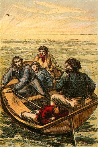Mr Webster defending the boy. Illustration for Naval Enterprise (Frederick Warne, c 1880).