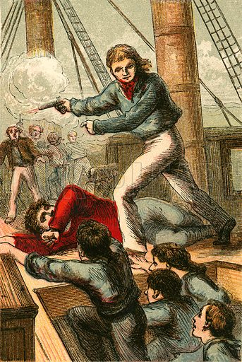 O'Brien recapturing an English vessel off Ushant. Illustration for Naval Enterprise (Frederick Warne, c 1880).