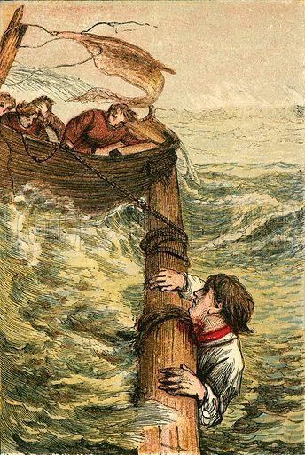 Self devotion of a seaman. Illustration for Naval Enterprise (Frederick Warne, c 1880).