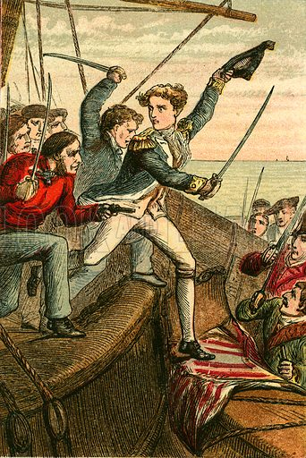 Lieutenant Lydiard at the head of the boarders. Illustration for Naval Enterprise (Frederick Warne, c 1880).