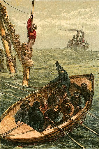 The life boat Bradford saving the crew of the barque Scott. Illustration for Naval Enterprise (Frederick Warne, c 1880).