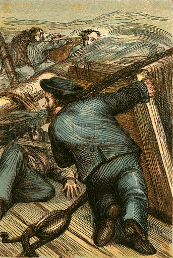 """Where there's a will there's a way."" Illustration for Naval Enterprise (Frederick Warne, c 1880)."